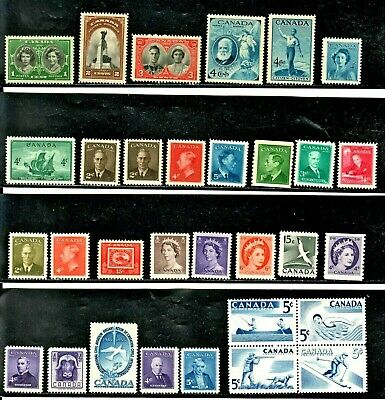 Canada Pretty Oldies Lot Of 50 Different 1939-1971 Mint Never Hinged Stamps