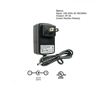 AC / DC Adapter 5V 2A Power Supply Charger 1.35mm x 3.5mm Barrel 3.75 ft Cable