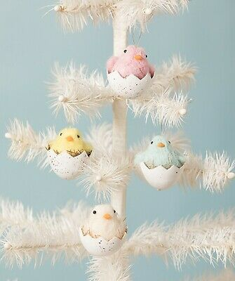 Bethany Lowe Set Of 4 Assorted Easter Chicks In Eggs Ornaments RL9805 New