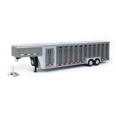 1/64 30ft Gun Metal 3 Hole Gooseneck Livestock Trailer Greenlight Exclusive A