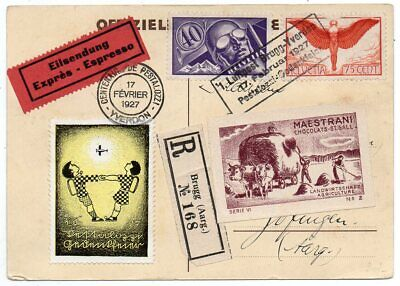 1927 Switzerland Special Flight Cover, High Value Stamps, Cinderellas