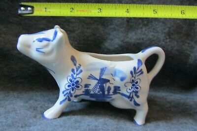 Vintage Delft-Style Porcelain white and blue Cow Creamer Pitcher