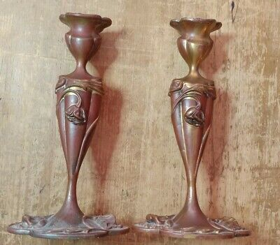 Pair Floral Art Nouveau Brass or Copper Wrapped Pot Metal Candle Sticks Holders