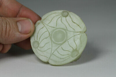 Antique Chinese c1900 Carved Jade Jadeite Miniature Stand Lotus Form for Censer