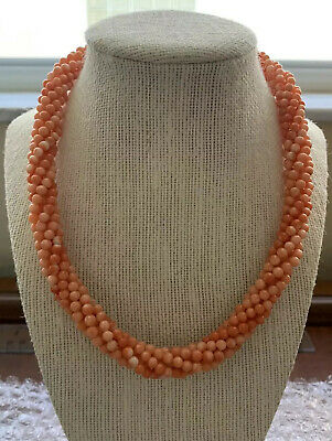 Antique 6 Strand Pink Angel Skin Coral Necklace Sterling Silver 925 Jewelry Lot