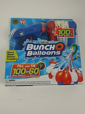 """LOT of 2 Packages ZURU /""""BUNCH O BALLOONS/"""" 100 WATER BALLOONS /& A WATER BLASTER"""