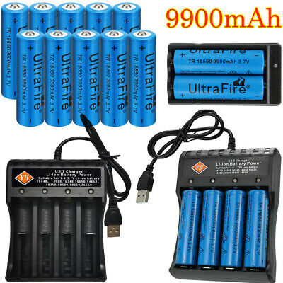 Ultrafire Rechargeable 18650 Batteries 9900mAh 3.7V Li-ion Battery+Charger Plug.
