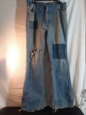 """Vintage 70s Mens Wrangler Jeans distressed patched 36x34 grunge retro 11""""flares"""