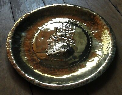 Vintage Arts & Crafts Hammered Brass Wall Hanging Ship / Galleon Plaque •●