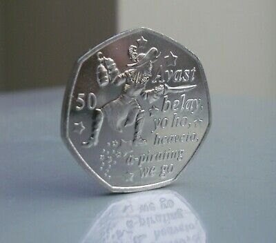 2019 Captain Hook Uncirculated 50p coin, from the Peter Pan Collection IOM.