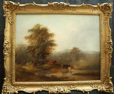 FINE LARGE 19th Century CATTLE WATERING IN LANDSCAPE Antique Oil Painting