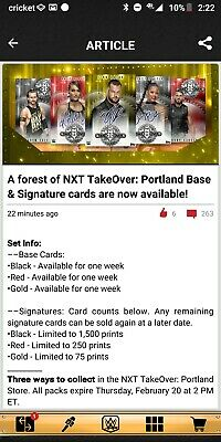 WWE Topps Slam Digital 2020 Nxt Takeover Portland  FULL RED BASE AND SIG SETS