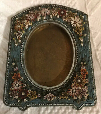 """5 """"  Italian Micro mosaic Inlaid Art Glass Easel Picture Frame"""