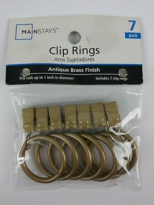 """CURTAIN CLIP RINGS ANTIQUE BRASS FINISH Fits up to 1"""" inch Rod 7 Pk Pack NEW NIP"""