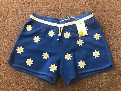 Mini Boden Girls Blue Daisies Embroidered Jersey Shorts Age 10 Years NEW BNWT