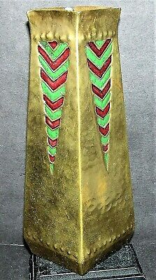 Rare Egyptian Revival Vase Hammered Bronze Obelisk Enamel Arts & Crafts King Tut