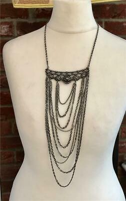 Superb Art Nouveau French Silver Metal Regency Style Swag Chain Necklace c1905