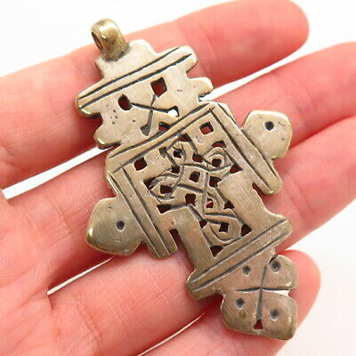 Rare Antique Silver Celtic Viking Handcrafted Double Sided Amulet Cross Pendant