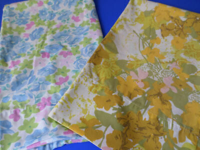 Vintage Pillowcases 2 All Over Floral Print Cotton Blend Cannon Made In U.S.A.