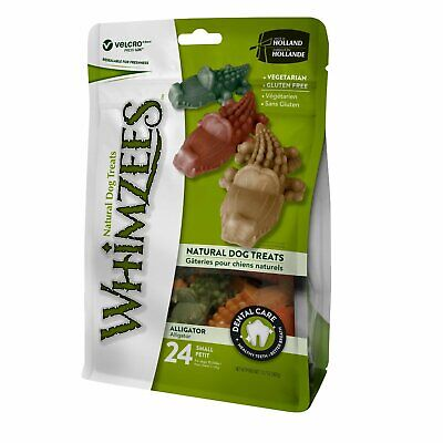(4 Pack) Whimzees Small Alligator Dog Treats Natural Healthy Vegetable 24 count