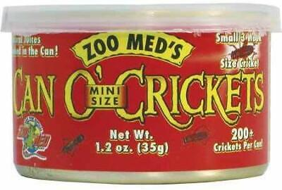 (4 Pack) Zoo Med Can O' Crickets Mini Size Food for Reptile Fish Birds 1.2 ounce