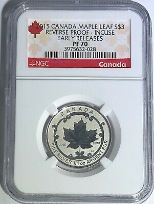 2015 $3 Canada Silver Maple Leaf Incuse Ngc Pf70 Reverse Proof 1/4 Oz .9999