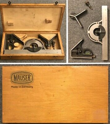 Vintage MAUSER Machinist Combination Square Protractor Center Head Scribe Tool