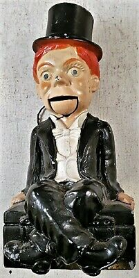 Rare 1938 Vintage Vanio Cast Metal CHARLIE MCCARTHY COIN BANK Movable Mouth NR