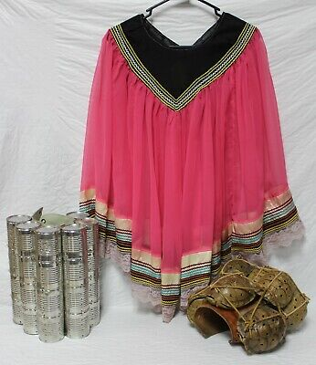 Native American Seminole Cape Pink Sheer Tulle Rick Rack Women's One Size V Neck