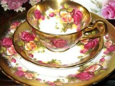 ROYAL CHELSEA England GOLDEN ROSE TEA CUP AND SAUCER PLATE TRIO  HP TEACUP