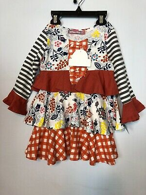 Jelly The Pug Ruffle Dress Cotton Multicolor Toddler Girls Size 2 Years Old NEW!