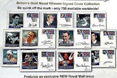Rare & Unique 11 Hand Signed Collection Of Uk Gold Medal Winners Stamped Covers
