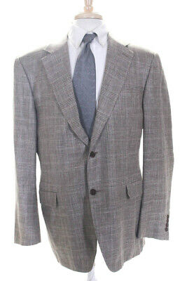 Canali Mens Plaid Two Button Up Collared Blazer Suit Jacket Beige Wool Size 56