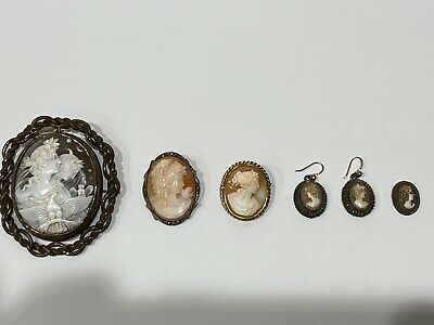 Collection Vintage/Retro Cameo's jewellery -x3 Brooches, 1x earrings, 1x pendant