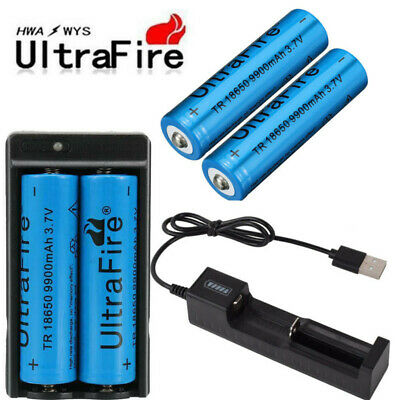 4X UltraFire 18650 9900mAh 3.7v Li-ion Rechargeable Batteries + Battery Charge`