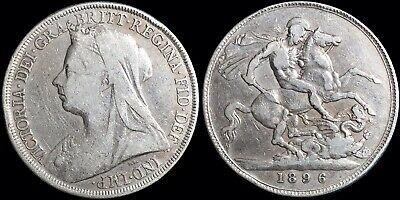 1896 Great Britain Crown KM #783 Queen Victoria Large Size Foreign Silver Coin