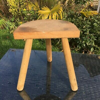 OAK Milking Stool 3 STRAIGHT LEGS HALF MOON Charming French NORMAN STYLE