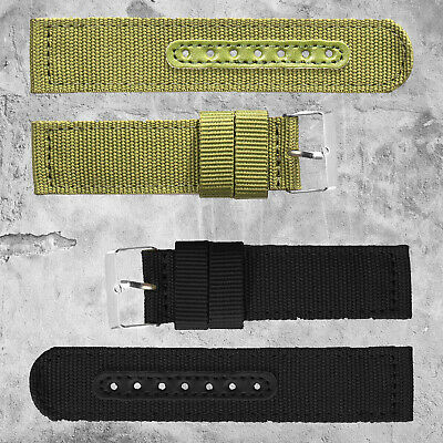 INFANTRY Watch Band Strap Military Army Sports Black Green Fabric Canvas Nylon