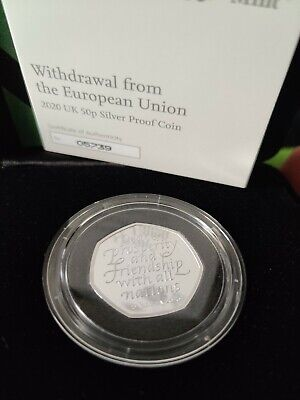 Official UK 2020 Brexit 50p Fifty Pence SILVER PROOF COIN IN HAND