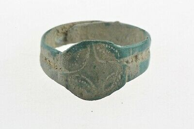 Byzantine or medieval bronze ring decorated with stylized cross 11th-13th C. AD
