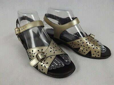 Homy Ped Size 6 Shoes Sandal Gold Pewter Adjustable Comfort Low Wedge Classic