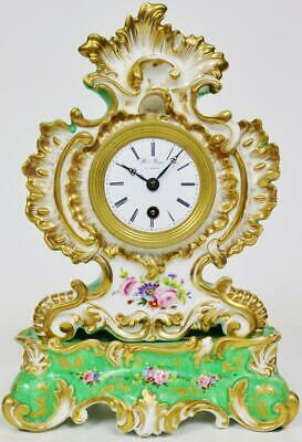 Glorius Antique French Empire Silk Suspension Jacob Petit Porcelain Mantel Clock