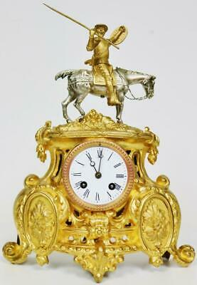 Antique French 2 Train Original Gilt Metal Horse & Soldier Figural Mantle Clock