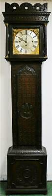 Antique Carved English Oak 18thc 8 Day Musical 8 Bell Longcase Grandfather Clock