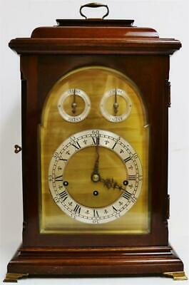 Antique English Mahogany & Brass Triple Fusee 8 Bell Musical Chime Bracket Clock