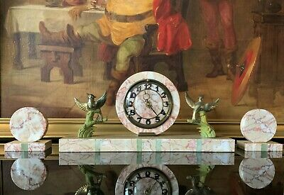 Beautiful Marble & Brass 20thc Antique Art-Deco 3 Piece Garniture Mantle Clock