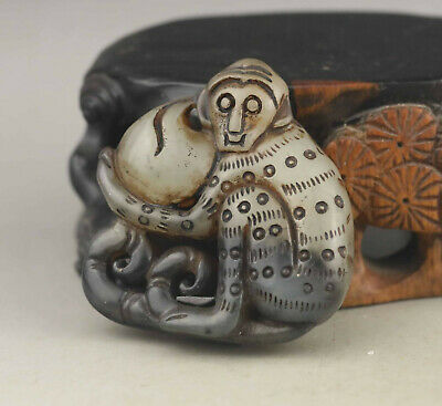 Old Chinese natural jade hand-carved monkey pendant