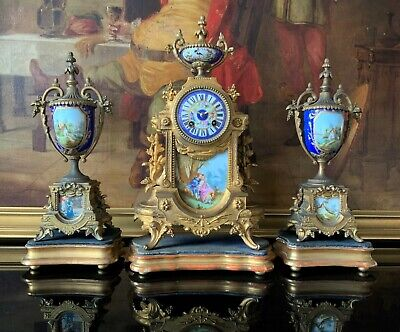 Remarkable 19thc Antique French Sevres Ormolu Gilt 3 Piece Garniture Clock Set