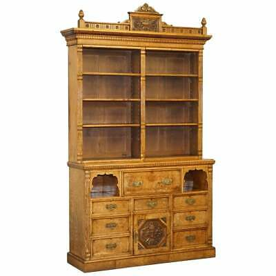 Victorian Library Burr Pollard Oak Library Bookcase Drop Front Secretaire Desk