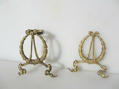 Antique Brass Furniture Ormolu Mount Wreath Leaf Bow Ribbon Victorian Vintage x2